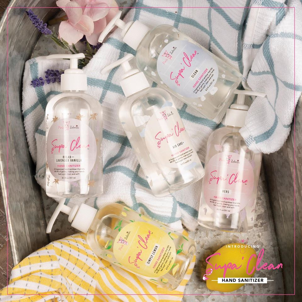 Pink Zebra hand sanitizer Current scents are Air Care+, Hers, Clean, Relax (Lavender & Vanilla), and Simply Lemon.